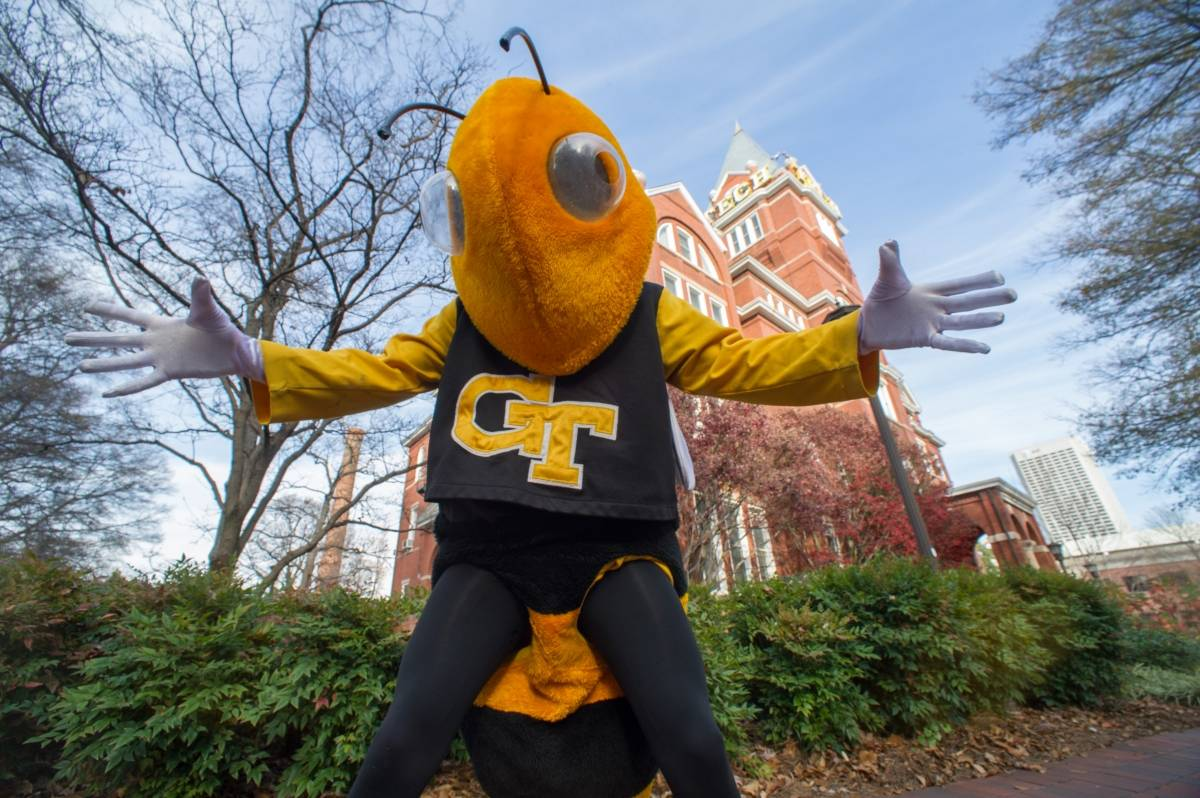 Buzz in front of Tech Tower, photo