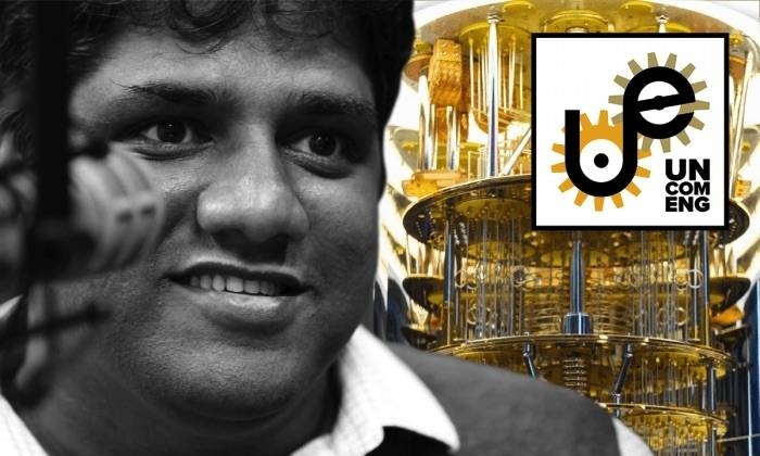 Moinuddin Qureshi superimposed in front of a quantum computer, illustration